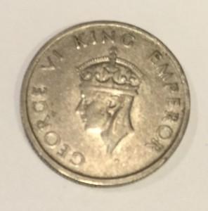 King George VI Athhani (Half Rupee) 1