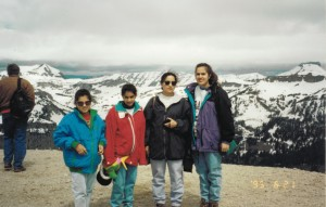 Navneeta, Simmi, Ruby and Raj-Ann at Jackson Hole Wyoming